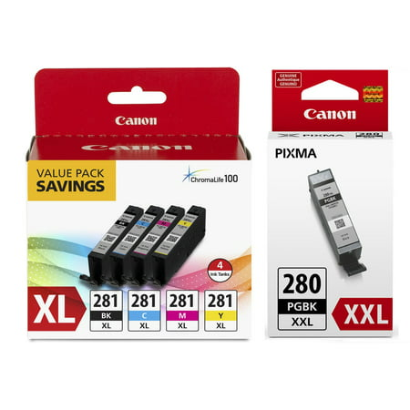 Genuine Canon CLI-281 XL BKCMY High Capacity 4-Color Ink Tank Value Pack (2037C005) + Canon PGI-280 XXL Extra High Capacity Pigment Black Ink Tank (1967C001)