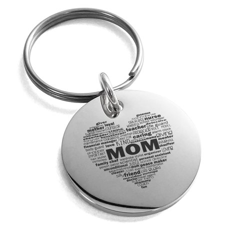 Stainless Steel Inspirational Mom Heart Small Medallion Circle Charm Keychain Keyring - Inspirational Keychains