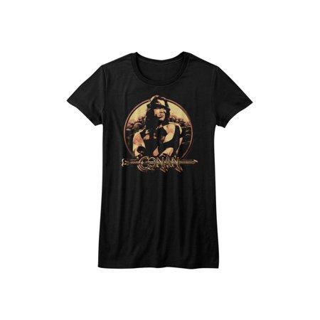 Conan the Barbarian Sword & Sorcery Hero Profile Black Juniors T-Shirt Tee](Woman Barbarian)