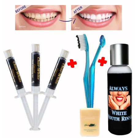 Natural Teeth Whitening Premium Kit -Activated Charcoal Gel ( Qty 3 ) + Mouth Rinse + Soft Toothbrush - Made in Usa