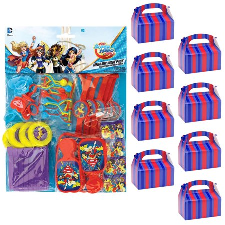 DC Super Hero Girls Filled Favor Box Kit (For 8 Guests) - Superhero Party Ideas