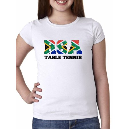 South Africa Table Tennis - Olympic Games - Rio - Flag Girl's Cotton Youth T-Shirt African Game Table