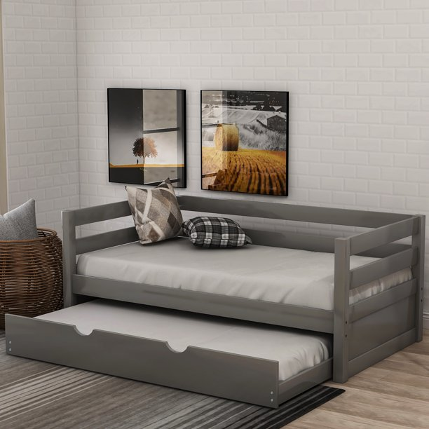 Euroco Solid Wood Daybed With Trundle Twin Grey Walmart Com Walmart Com