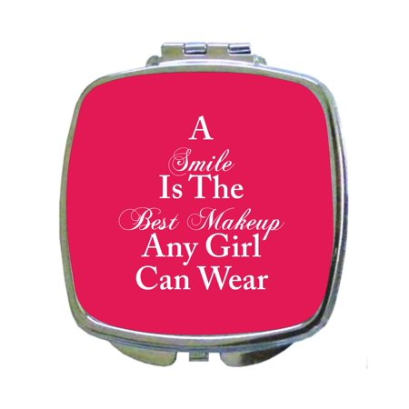 A Smile is The Best Makeup Any Girl Can Wear -Quote - Compact Square Face/Makeup - Chelsea Smile Makeup