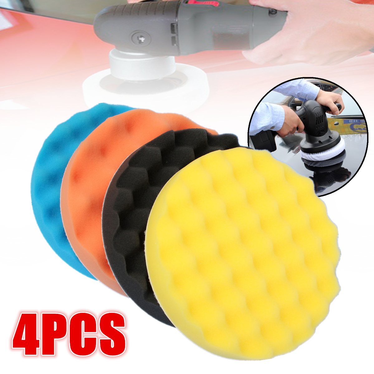 4Pcs 7''/180mm Sponge Foam Buffing Pad Waffle Polishing Buffer Pad Kit For Car Auto Polisher