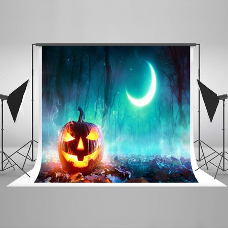 HelloDecor Polyester Fabric Carved Pumpkin Haunted Night Selfie Luxurious Backdrop Vintage Nostalgic Home Decoration Studio Props for Halloween pour Toussaint - Halloween Printable Carvings