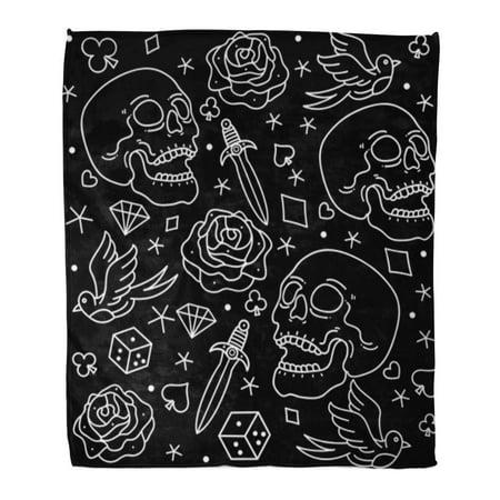 JSDART Flannel Throw Blanket Skull Pattern Tattoos Old School Traditional Dagger Diamond Flower Heart 50x60 Inch Lightweight Cozy Plush Fluffy Warm Fuzzy Soft - image 2 of 2