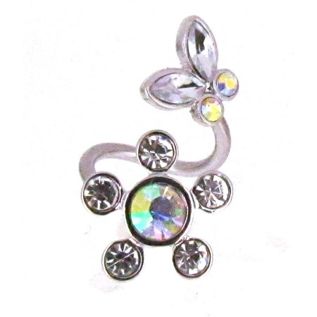 - Belly Button Ring Spiral Flower butterfly twist navel