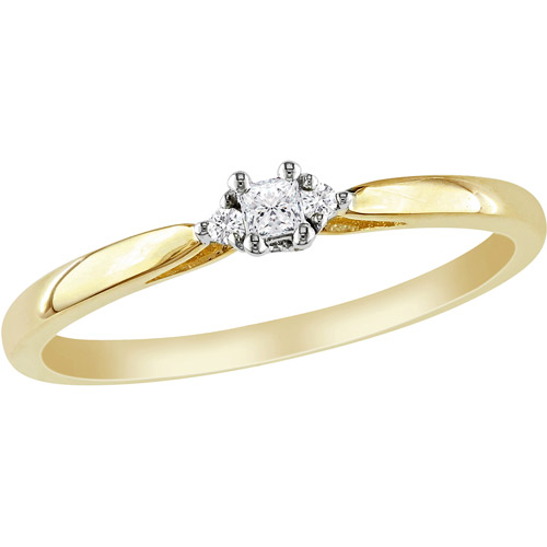 Miabella Princess-Cut Diamond Accent 10kt Yellow Gold Promise Ring