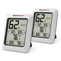 2 pack, ThermoPro TP50 Indoor thermometer Humidity Monitor Weather Station with Temperature Gauge Humidity Meter Hygrometer