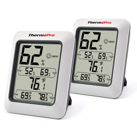 2 pack, ThermoPro TP50 Indoor thermometer Humidity Monitor Weather Station with Temperature Gauge Humidity Meter