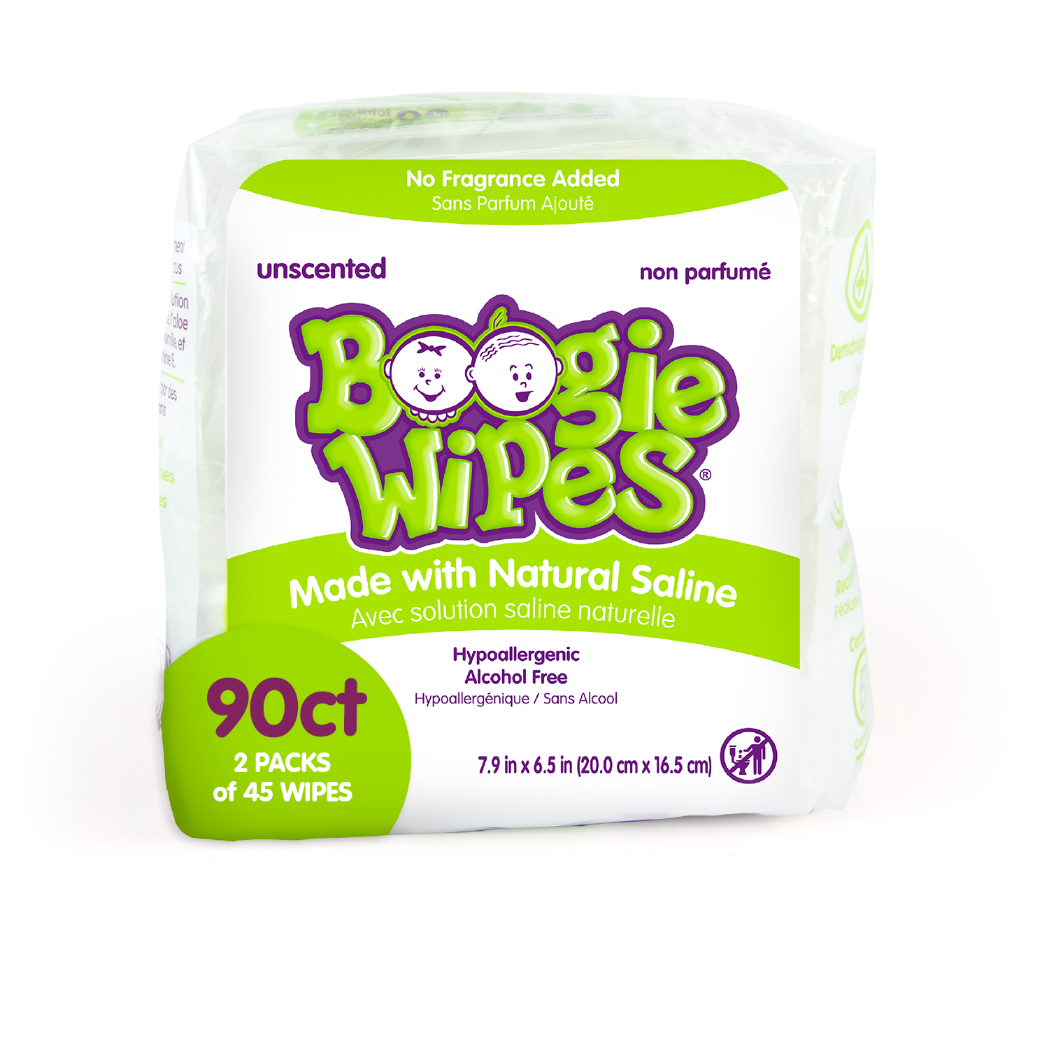 30 Count, Fresh Scent Allergy Relief Pack of 6 Boogie Wipes Chamomile and Vitamin E Wet Nose Wipes for Kids and Baby Soft Natural Saline Hand and Face Saline Tissue with Aloe