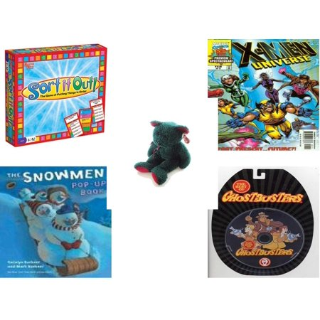 Children's Gift Bundle [5 Piece] -  Sort It Out!  - X-Men Universe Past, Present and Future 1999 #1 Magazine - Ty Holiday TeddyBeanie Buddy  - Snowmen Pop-Up Book  - The Best of Ghostbusters DVD