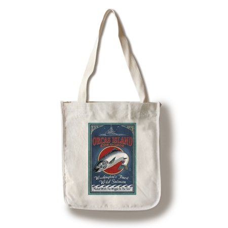 Orcas Island, Washington - Salmon Vintage Sign - Lantern Press Poster (100% Cotton Tote Bag - - Washington Sign