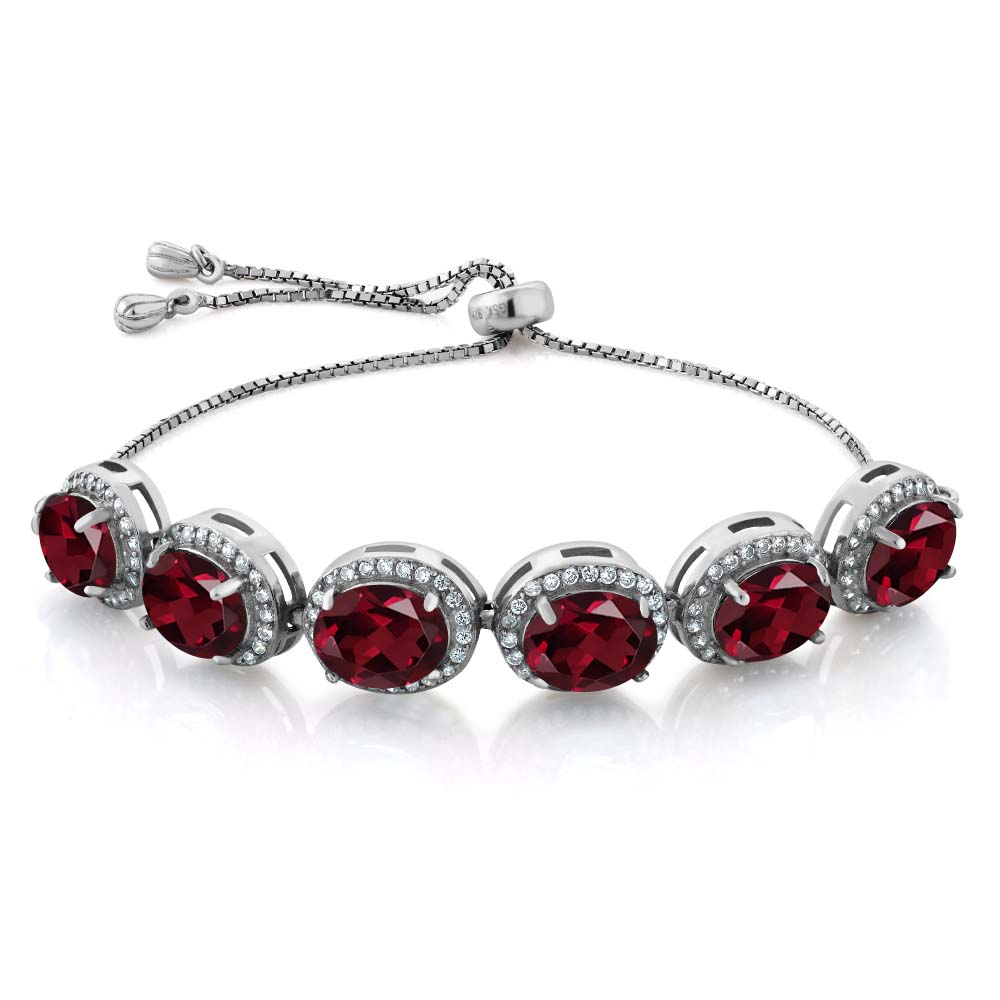 13.58 Ct Oval Red Rhodolite Garnet 925 Sterling Silver Bracelet by