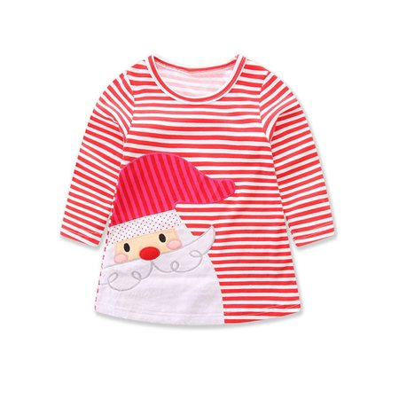Baby Holiday Dresses (StylesILove Baby Girl Christmas Holiday Striped Print Santa Claus Cotton Long Sleeve Dress (110/2-3)