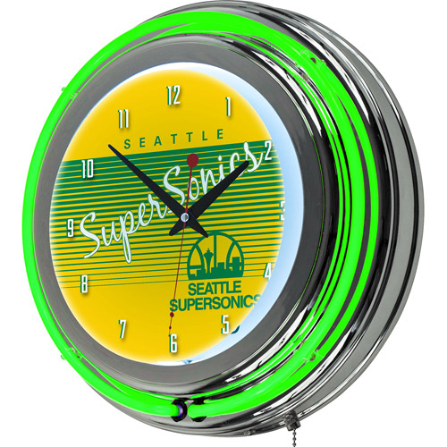 Seattle Super Sonics Hardwood Classics NBA Chrome Neon Clock