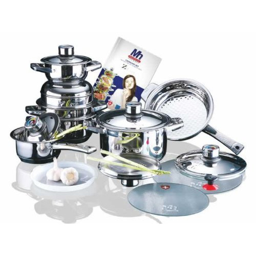 Concord Cookware Millerhaus 17-Piece T304 Stainless Steel Cookware Set