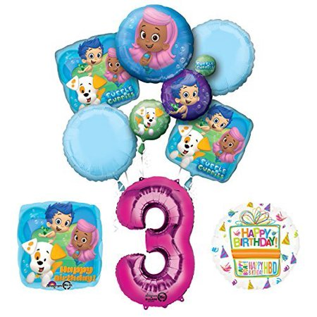 Bubble Guppies 3rd Birthday Party Supplies and Balloon Bouquet Decorations - Bubble Guppies Party Decor