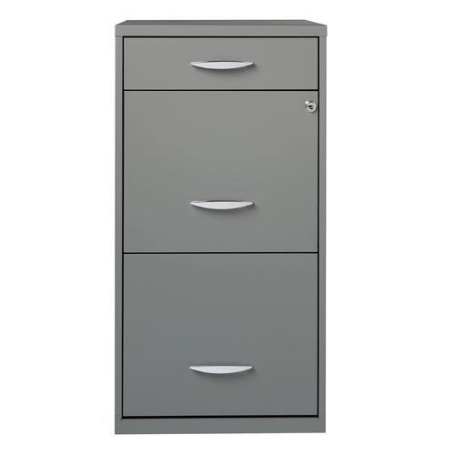 Space Solutions 3 Drawer Steel File Cabinet, Platinum Grey