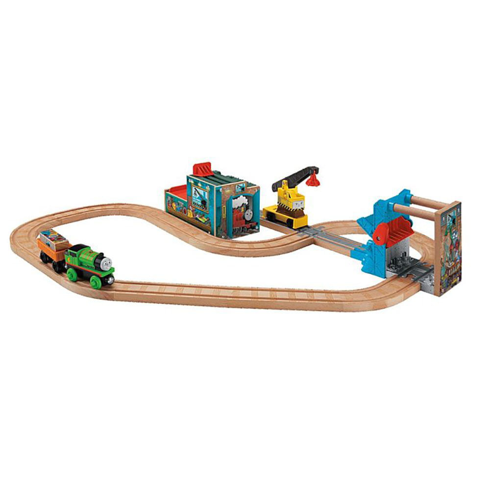 Fisher Price Wooden Thomas and Friends Reg and Percy at the Scrapyard Train Set by Fisher-Price