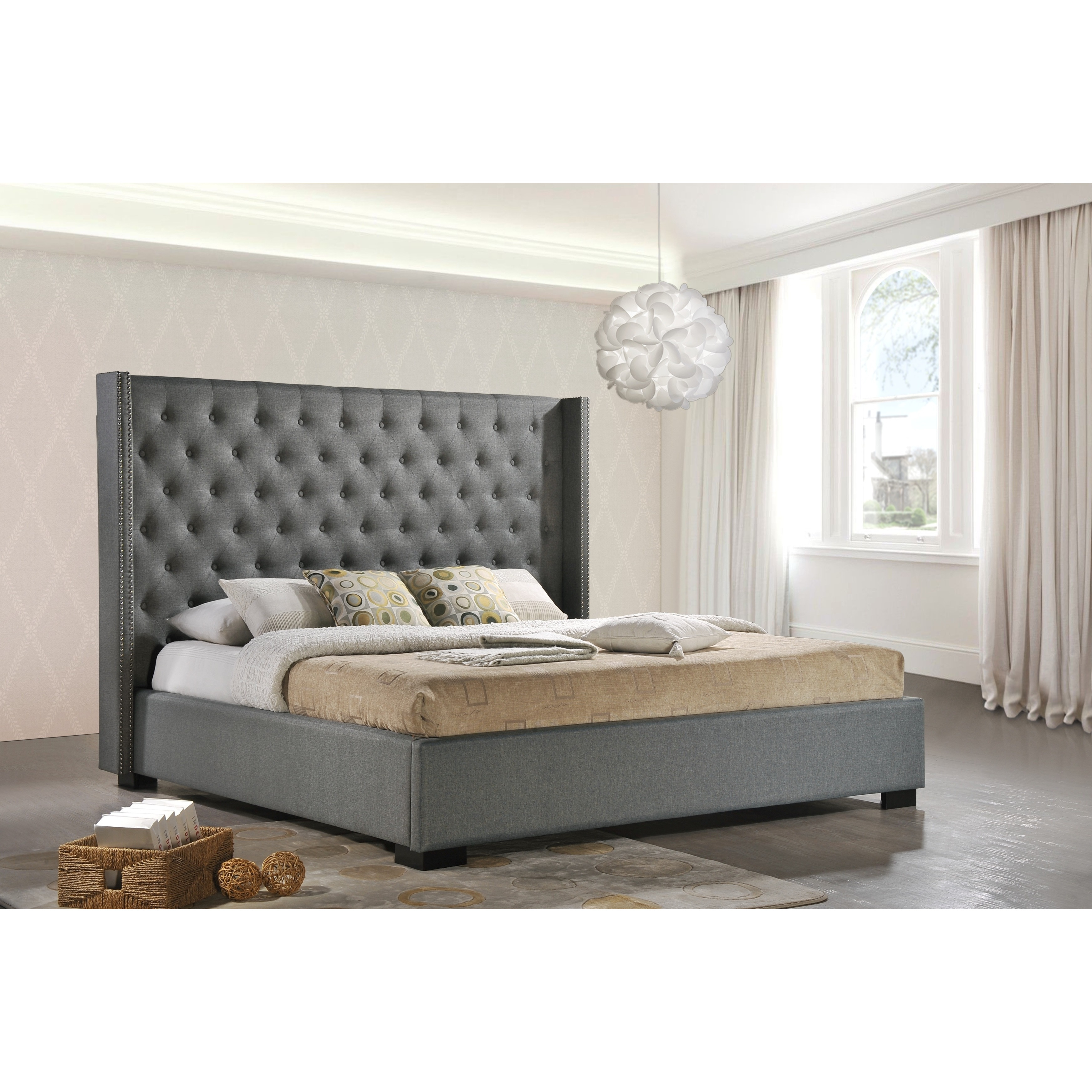 Newport King Size Wingback Tufted Upholstered Contemporary Bed In Gray Fabric Walmart Com Walmart Com