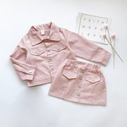 2pcs Toddler Kids Baby Girls Clothes Set Tops Coat Mini Skirts Dress Outfits Pink 3-4 Years