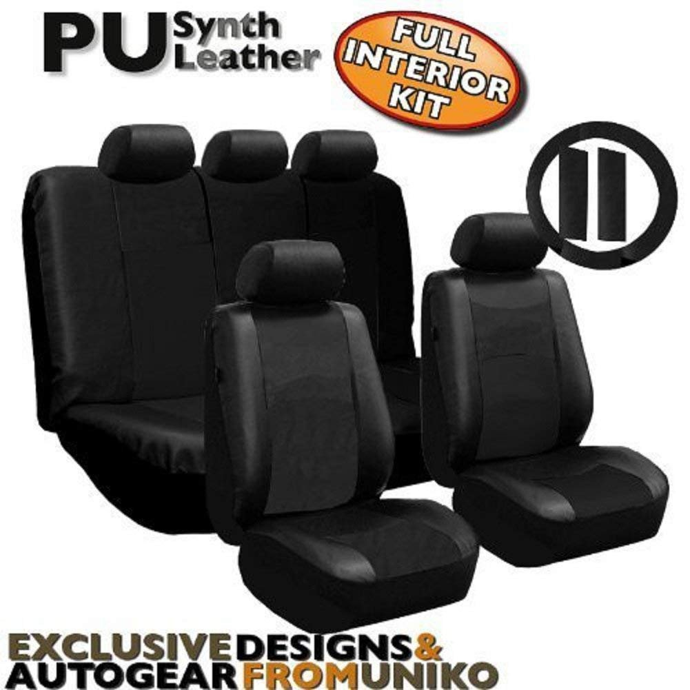 Full Set 13 Piece Premium Double Stitched Vinyl Leatherette Car Vehicle Seat Covers Luxury Universal Fit Interior - Includes Steering Wheel Set (Black Leatherette)