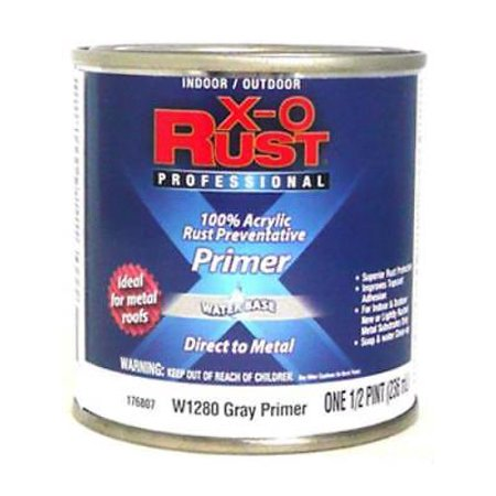 W1280 X-O Rust 1/2 PT Gray Metal Water Base Interior/Exterior Anti Rus (Best Anti Rust Paint For Metal)