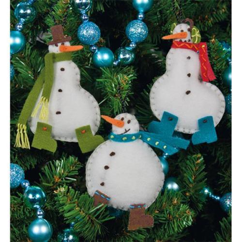 Dimensions 476891 Simple Snowmen Ornaments Felt Applique Kit-3 inch x 4 inch Set Of 3
