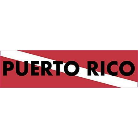 15 x 4 Puerto Rico Scuba Diver Down Flag Bumper Sticker Window Stickers Vinyl Decals Car (Puerto Rico Flag Decal)