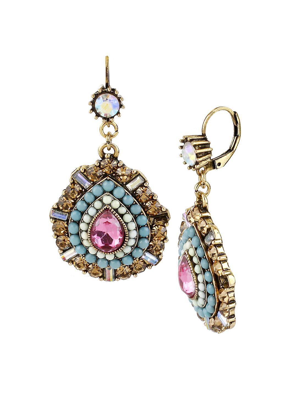 Multi Color Crystal and Bead Teardrop Earrings