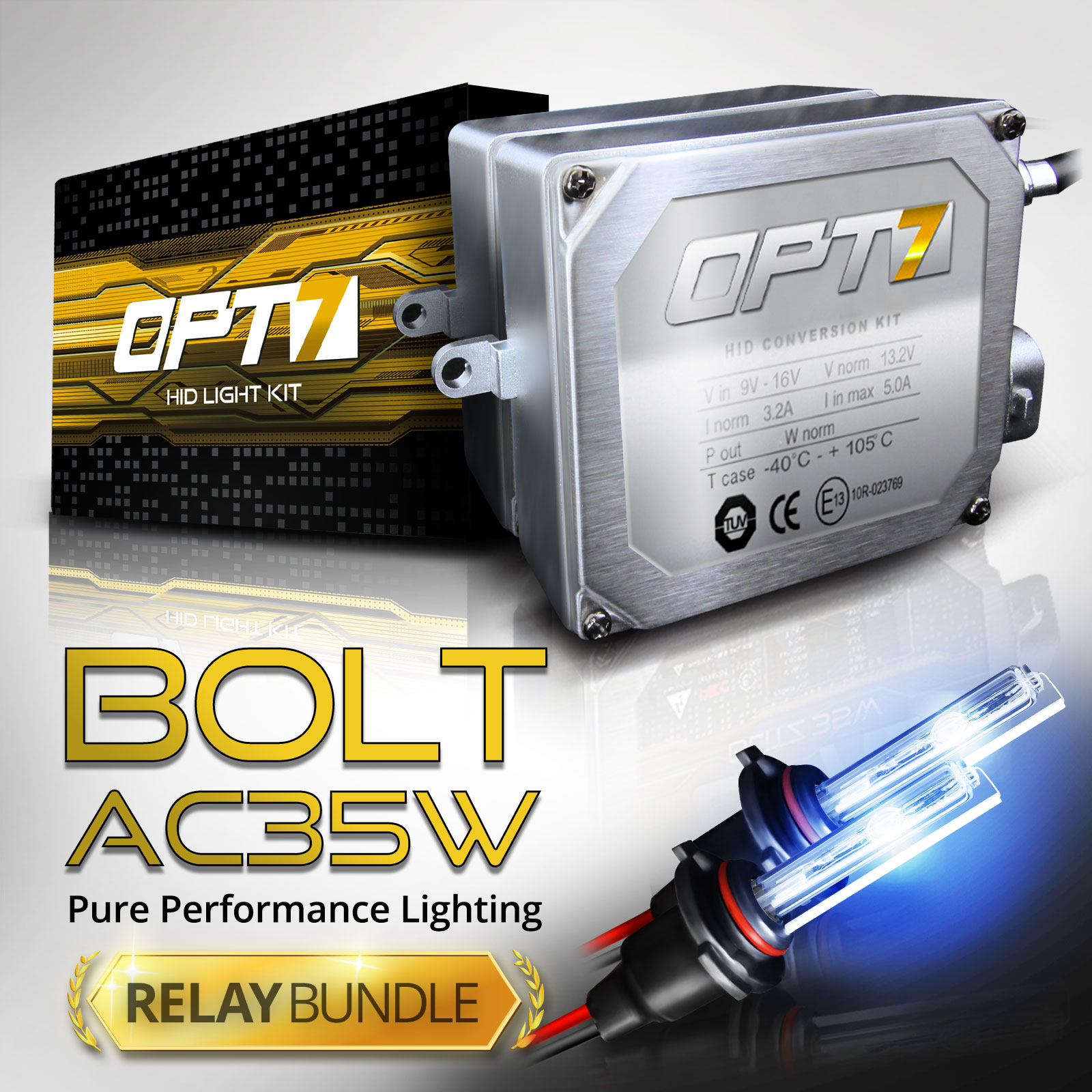Bolt AC 35w HID Xenon Conversion Kit w/ Relay & Capacitors Bundle H11 [6000K Lightning Blue] 2 Yr Warranty