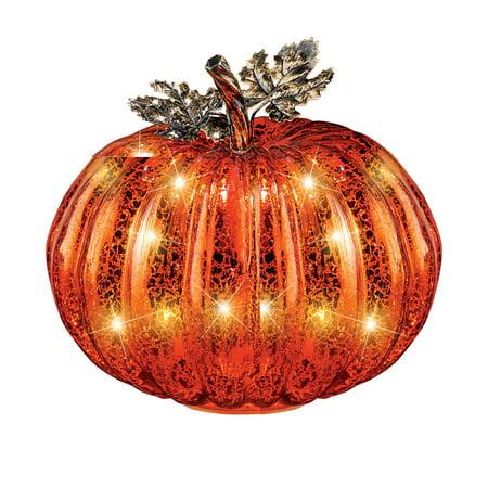 Festive Lighted Glass Pumpkins Indoor Fall Tabletop Décor, Large (Pumpkin Glass)
