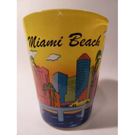Miami Beach Florida Yellow Skyline Shot Glass ctm](Yellow Shots)