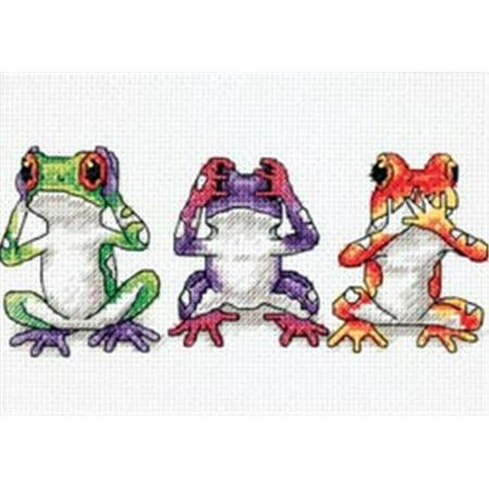 316297 Jiffy Treefrog Trio Mini Counted Cross Stitch Kit-7 in. x 5 in.