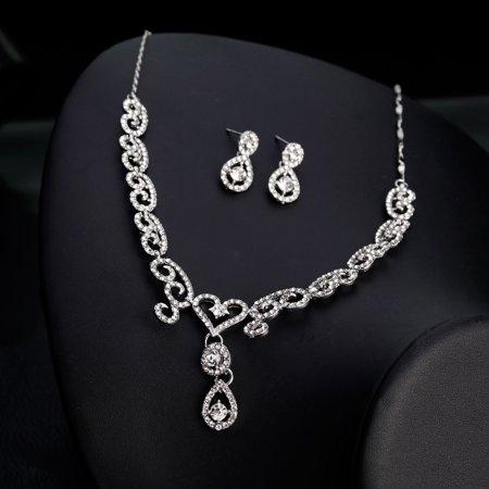 Women Girls Jewelry Set Fashion Heart Sharp Pendant Rhinestone Necklace + Earrings Valentine's Day Gift - image 1 of 8