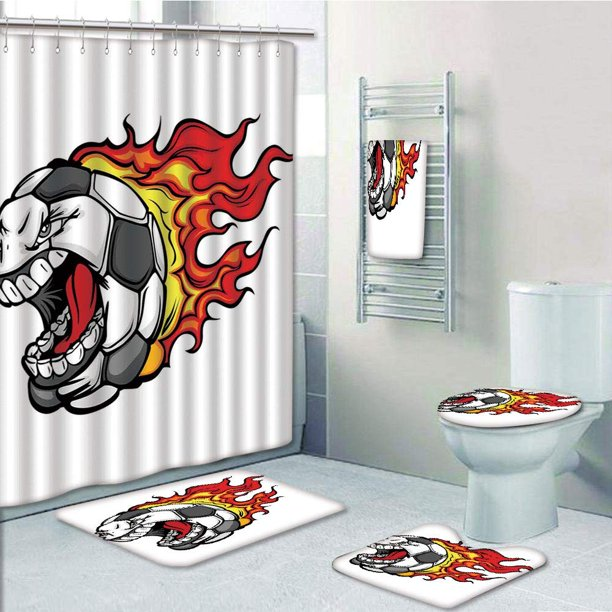 PRTAU Cartoon of a Flaming Soccer Ball with Aggressive ...