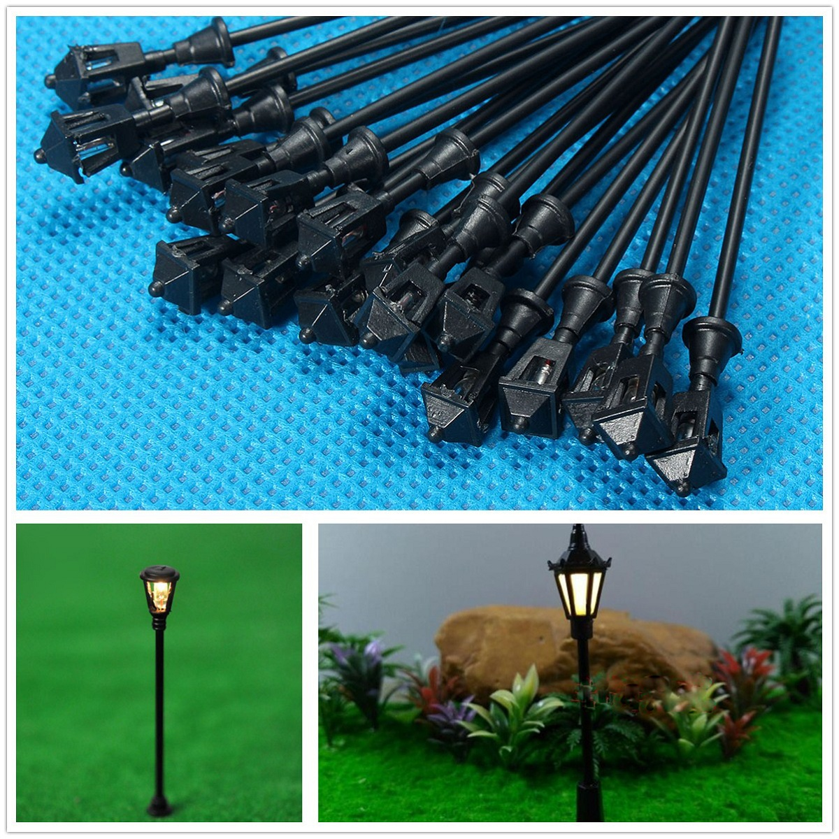 MOHOO 20pcs Model LED Street Lights Railway Train Layout Lamp Post HO Scale 1:100 by