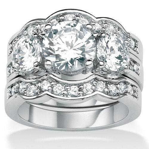 Palm Beach Jewelry Silvertone Round Cubic Zirconia Wedding Ring Set