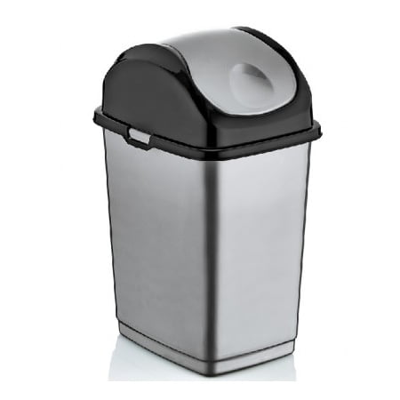 superio swing top trash can 37 qt grey. Black Bedroom Furniture Sets. Home Design Ideas