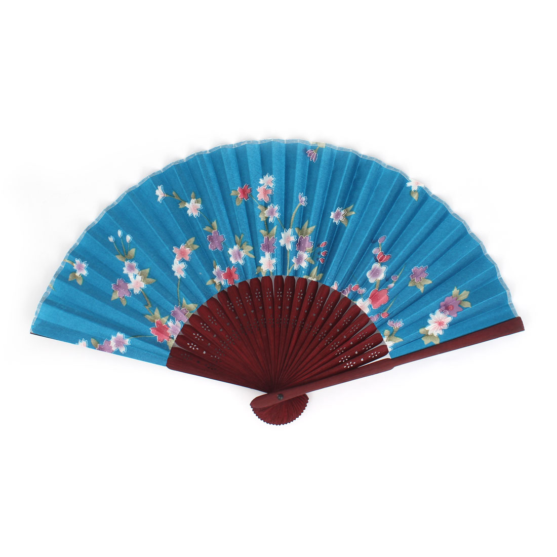 Chinese Style Hollow out Wood Ribs Fabric Floral Print Folding Hand Fan Blue