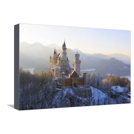 Bavaria Germany Saucer (Germany, Bavaria, AllgŠu, Neuschwanstein Castle Stretched Canvas Print Wall Art By Herbert Kehrer )