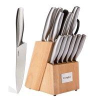 LivingKit Professional Stainless Steel Kitchen Knife set Knife Block Set (14-Piece)