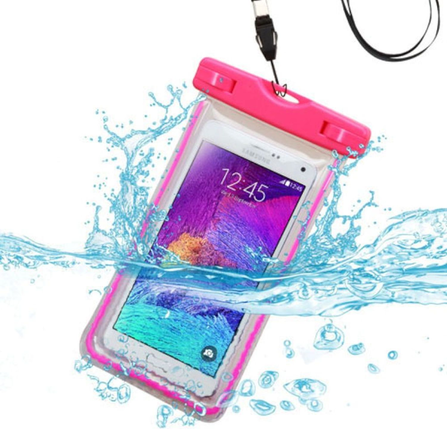 "Insten Universal Hot Pink Lightning Waterproof Case Bag with Lanyard (6.3"" x 3"") for iPod Touch 5th 6th iPhone 6 6S 5S 7 8 Plus X SE LG G5 G6 K7 K8 Optimus Zone 3 2 Stylo Plus Samsung Galaxy S7 S6 On5"
