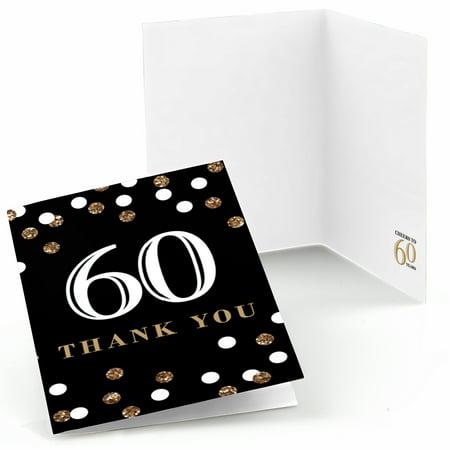 Adult 60th Birthday - Gold - Birthday Party Thank You Cards (8 count)](Birthday Thank You Cards)