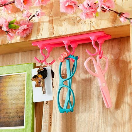 Jeobest Under Cabinet Storage Hooks - Kitchen Storage Rack Cupboard Hanging Hook Hanger - Kitchen Cabinet Wall Cabinet Six Angle Hook Holder Kitchen Storage Sticky Hooks Organizer MZ