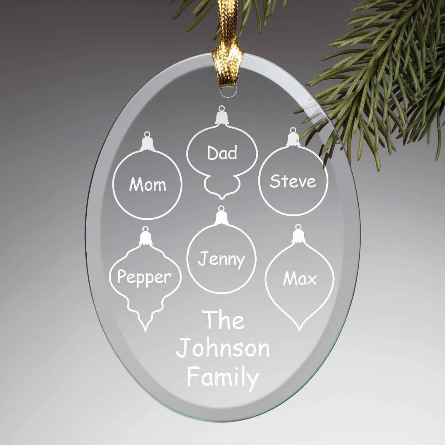Personalized Glass Christmas Ornament - Family