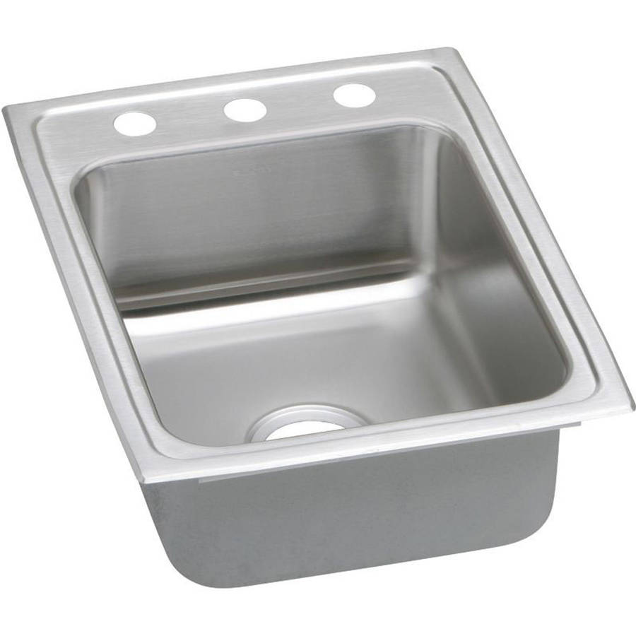 Elkay PSR17223 Gourmet Pacemaker Stainless Steel Single Bowl Top Mount Sink with 3 Faucet Holes