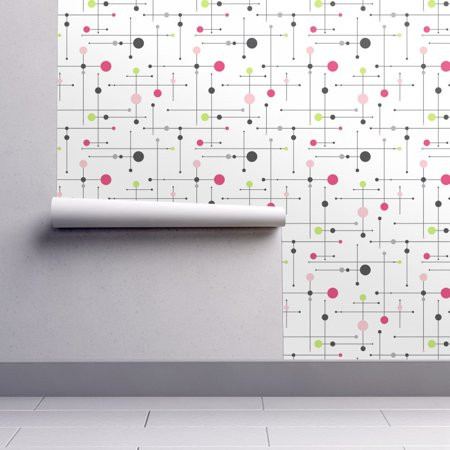 Peel-and-Stick Removable Wallpaper Pink Pastel Light Chartreuse Girl Feminine (Pink Pastel Wallpaper)